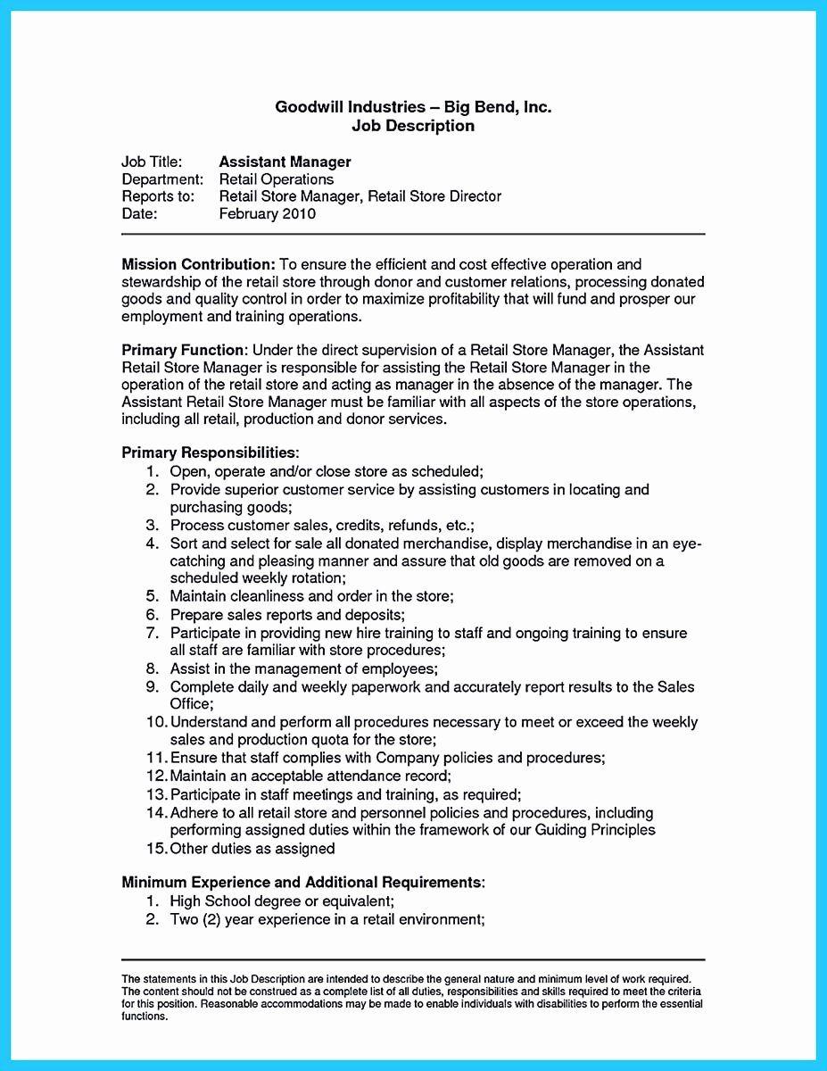 Assistant Store Manager Job Description Resume