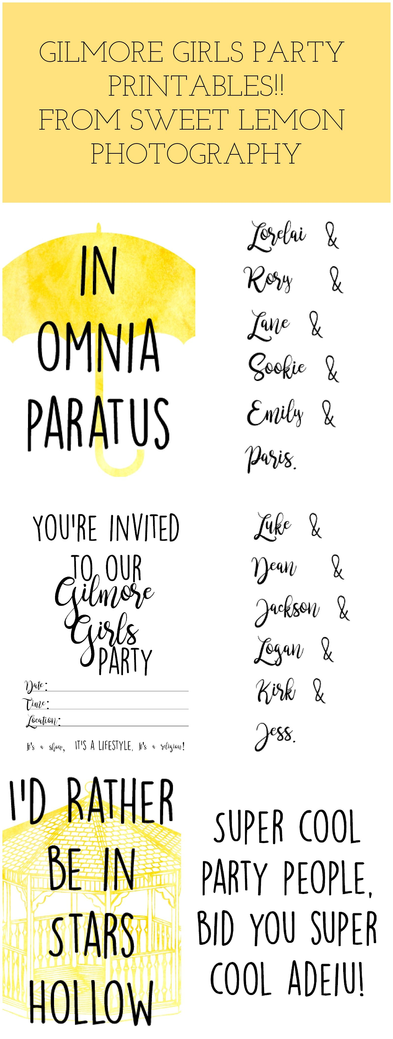 Gilmore Girls Party Invitations And Home Printables Id Rather Be
