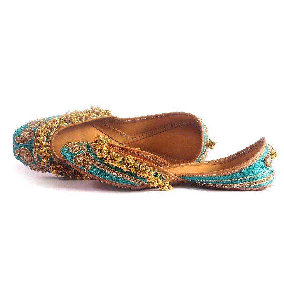 Bridal Flats Wedding Shoes Indian Designer Punjabi Jutti Mojari Juti USA 7