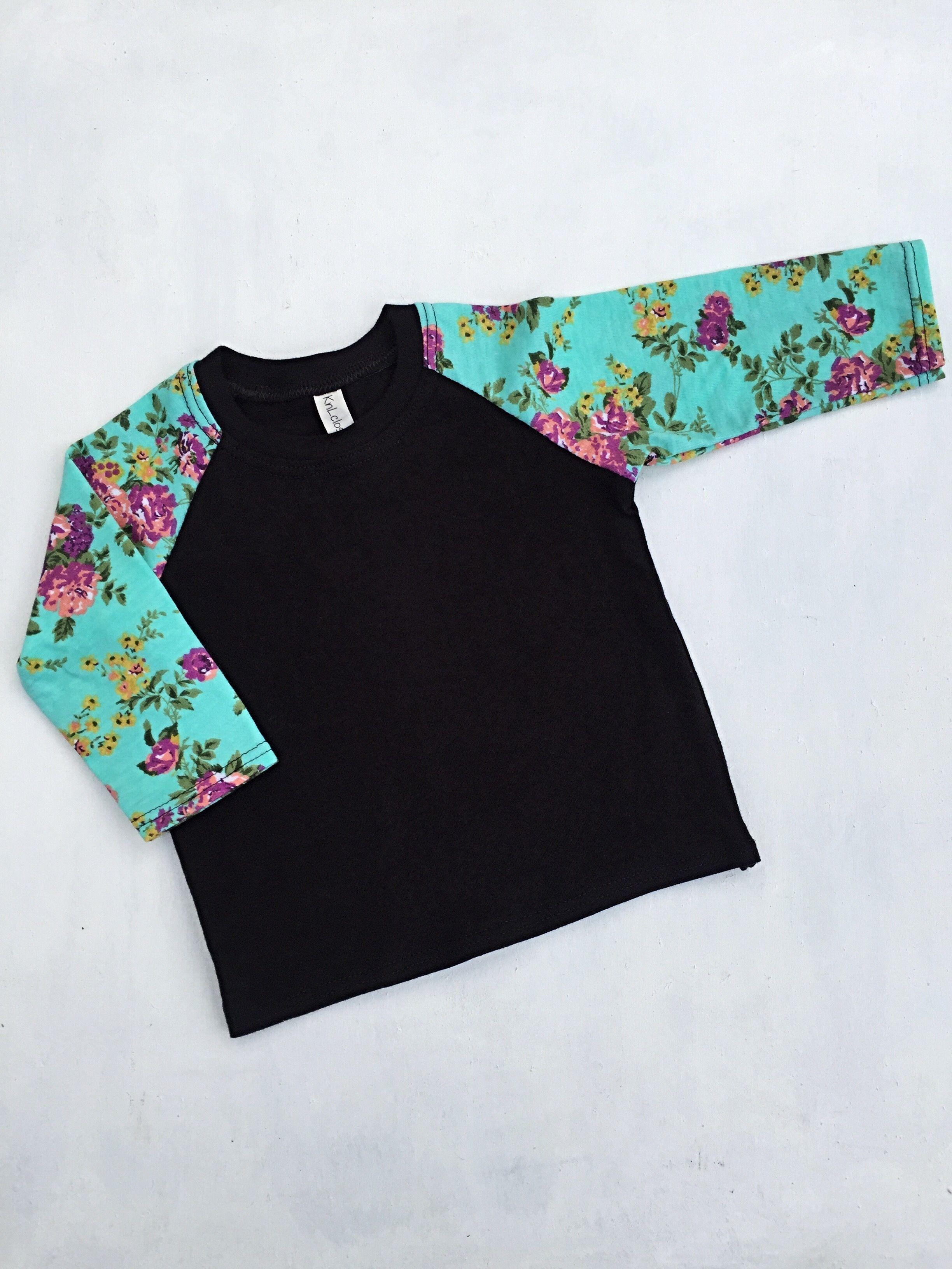 Floral raglan shirt baby raglan baby clothes floral baby shirt