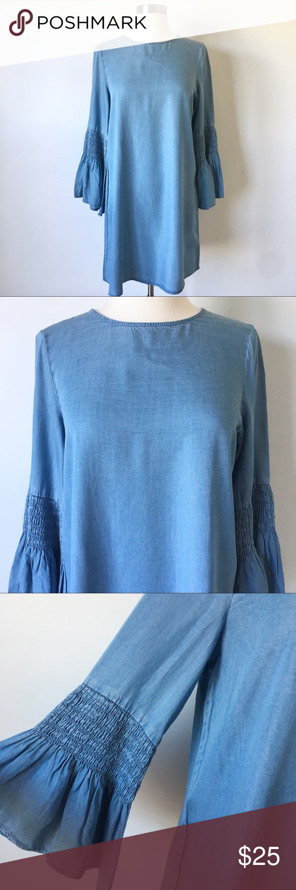 Chambray Ruched Bell Sleeve Dress Size XS New with tags – In perfect condition  …