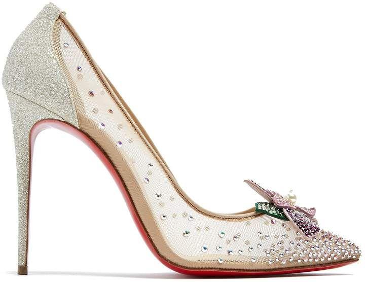 898faf2fbfdf CHRISTIAN LOUBOUTIN Feerica 110 crystal-flower embellished pumps  afflink Nude  Heels