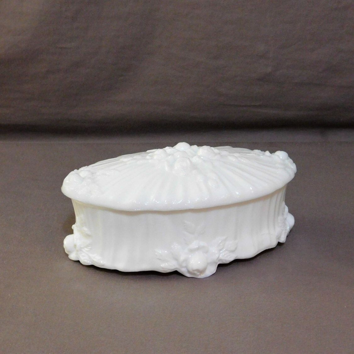Milk Glass Cabbage Rose Trinket Box Jewelry Box Candy Dish Victorian Covered Dish