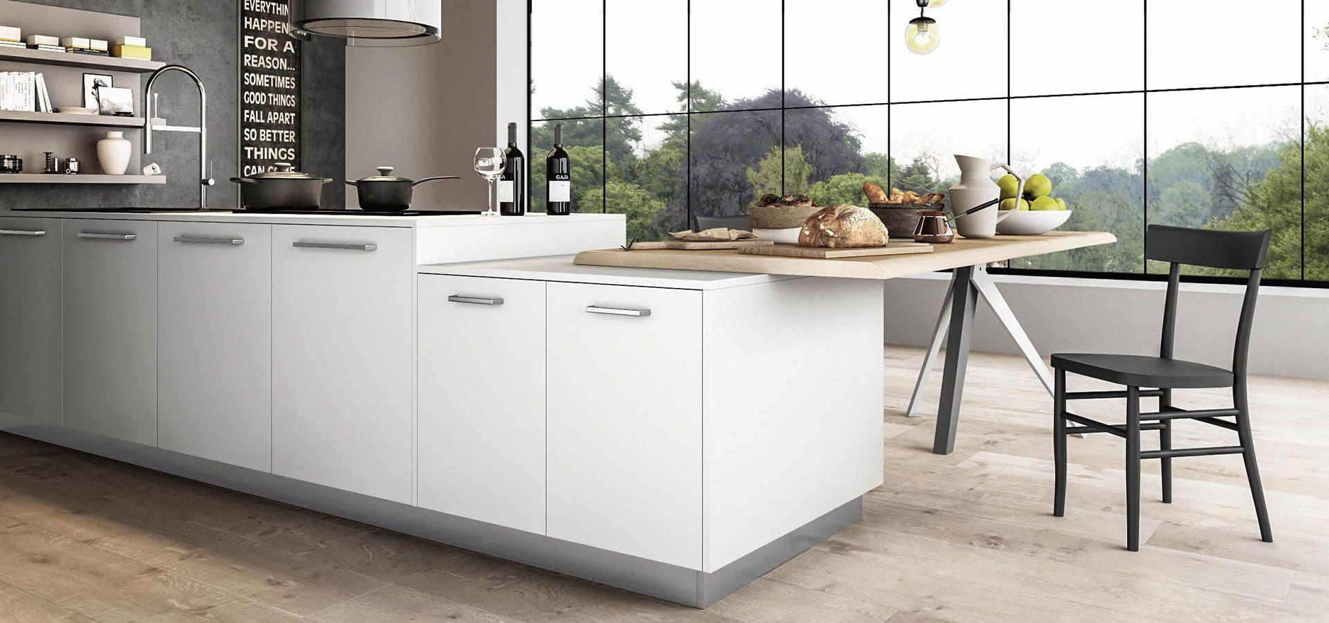 Cucina Moderna - Time Finiture: bianco glass opaco, grigio cenere ...