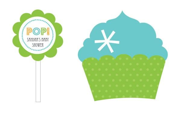 Going to Pop - Blue Cupcake Wrappers & Cupcake Toppers (Set of 24) -   - Pink Poppy Party Shoppe