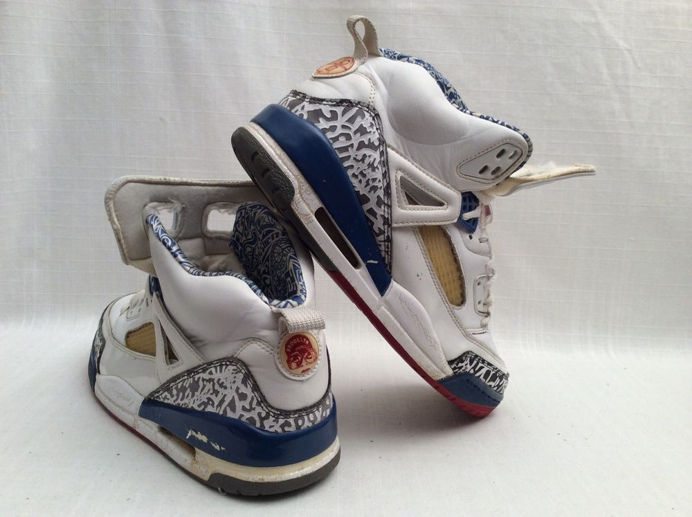 best sneakers 3af37 bfe7a AIR JORDAN SPIZIKE  315371-163 14  SIZE 9.5 WHITE TRUE BLUE FIRE RED VERY  RARE  NIKE  BasketballShoes