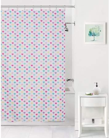 Mainstays Kids Colorful Hearts Coordinating Fabric Shower Curtain Fabric Shower Curtains Coordinating Fabrics Shower Curtains Walmart