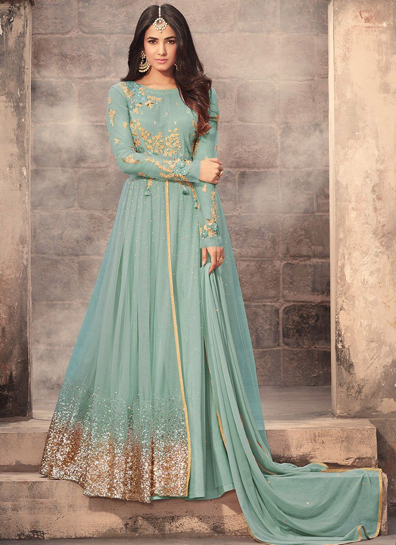 18154bce92 Light Blue Embroidered Net Anarkali Suit features a beautiful net top  alongside a santoon bottom and