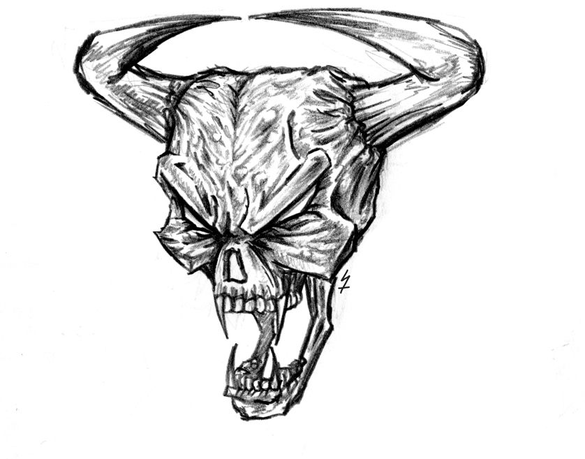 Рисунки карандашом прикольные черепа демонов
