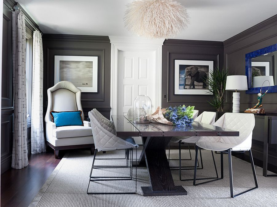Dark Gray Walls And Royal Blue Accents In The Classy Dining Room