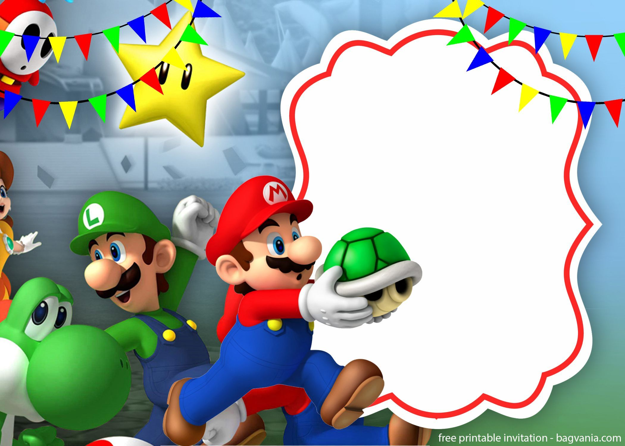 Mario And Luigi Invitation Template For Your Children S Birthday