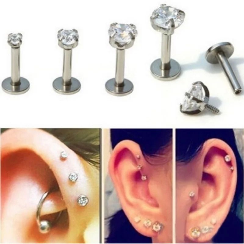 1pc Heart Piercing Jewelry Cartilage Ring Earring Lip Nose Rings Body Jewelry