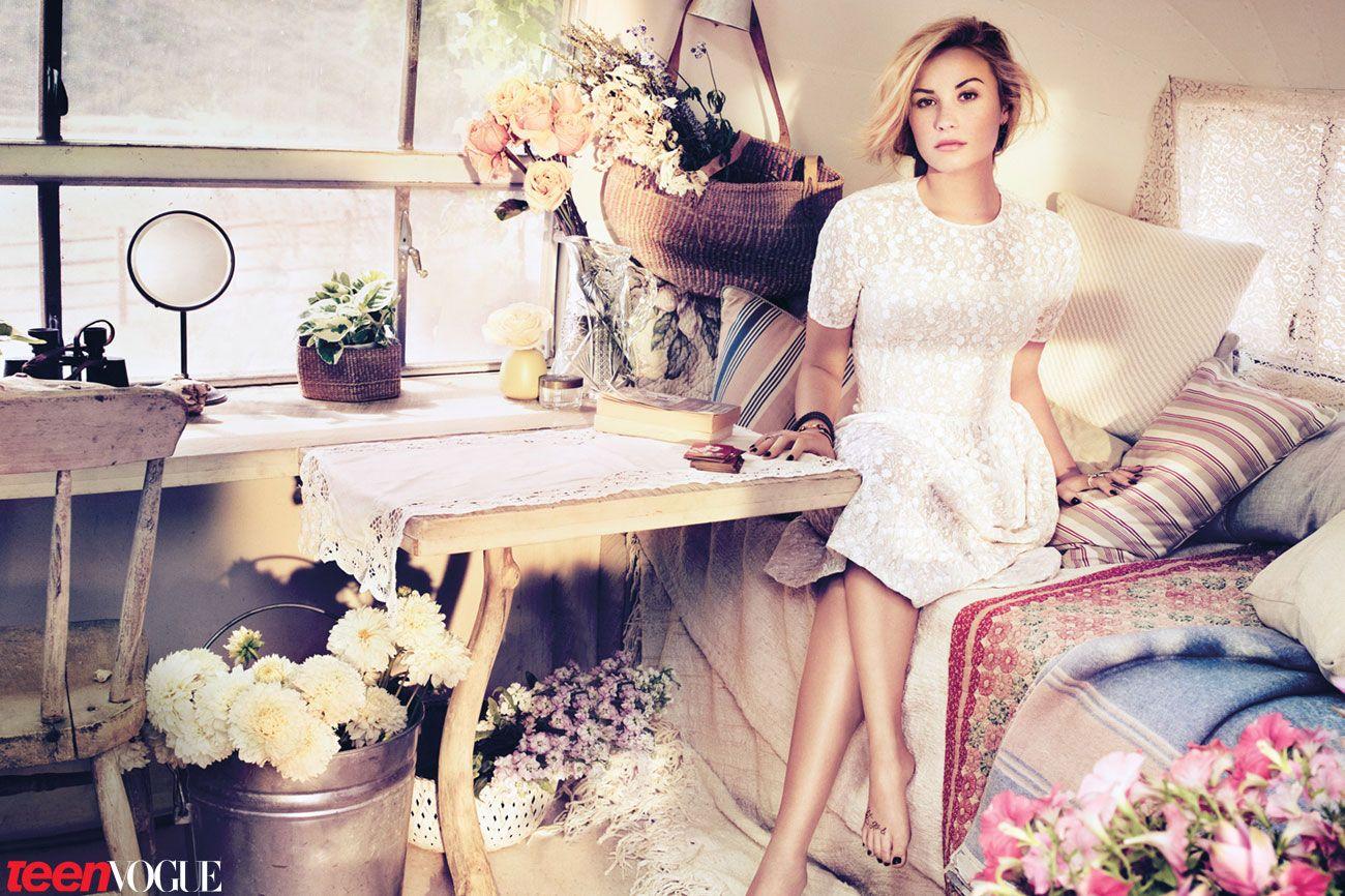 Demi Lovato in a romantic white Jill Stuart dress in our November 2012 issue.