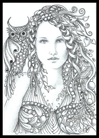 Zentangle Faces Fairy Tangles December 2011 Adult