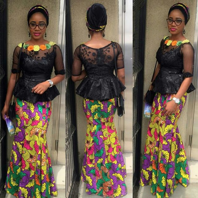 Beautiful Ankara Skirt And Black Lace Blouse Combination