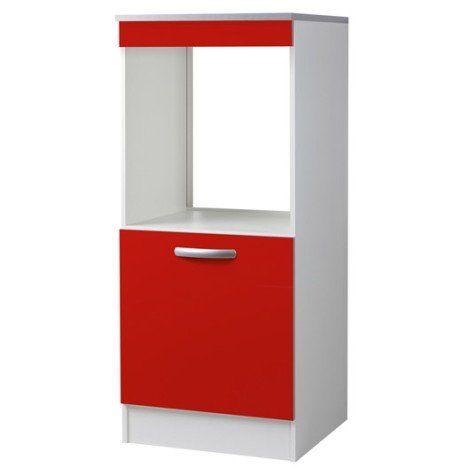 meuble de cuisine 1/2 colonne four 1 porte, rouge, h140.4 x l60 x ... - Meuble De Cuisine Colonne