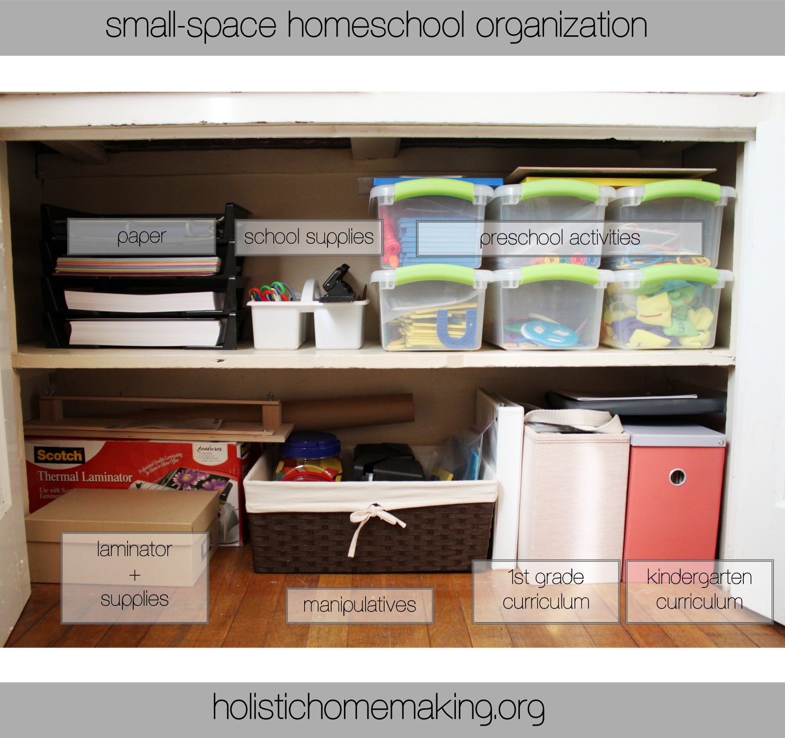 Small Space Organization small-space homeschool organization. must read her blog through