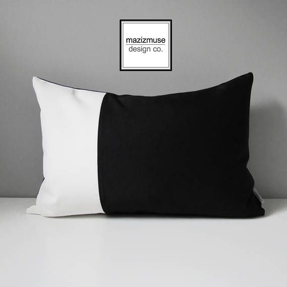 Brise Accent Chair Pillow Case: Decorative Black & White Outdoor Pillow Cover, Modern