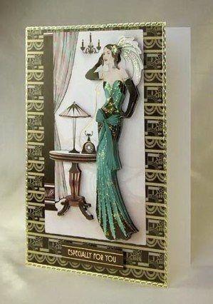 Card Making Project Art Deco Lady In Green Decoupage