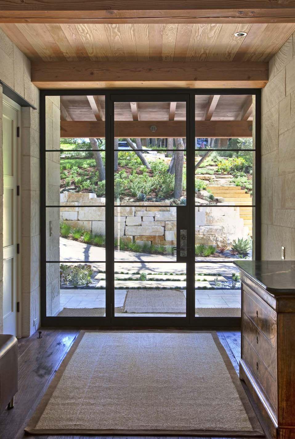 Stunning Rustic Modern Home Nestled On Beautiful Lake Austin Texas Door Glass Design Exterior Doors With Glass Entry Doors With Glass