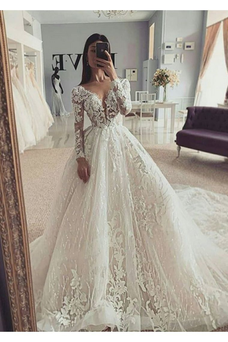 Ball Gown Illusion Long Sleeves Wedding Dress With Appliques V