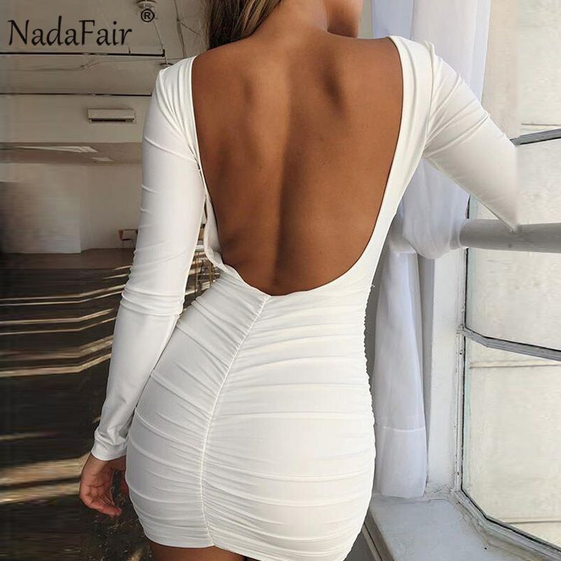 25.56 - Cool Nadafair Backless Long Sleeve Wrap Bodycon Low Cut Sexy Club Dress  Women White Black Mini Party Dress - Buy it Now! d113e3e46