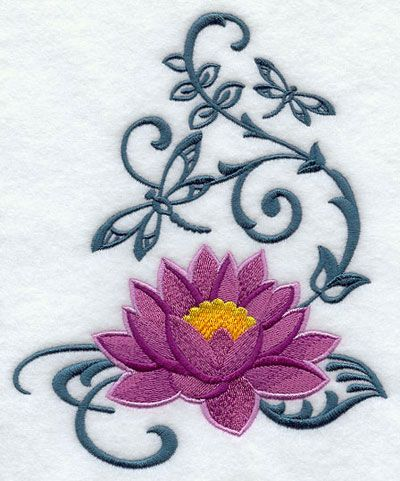 Image Result For Lotus Flower And Dragonfly Tattoo Meaning Machine Embroidery Designs Embroidery Designs Purple Lotus Tattoo