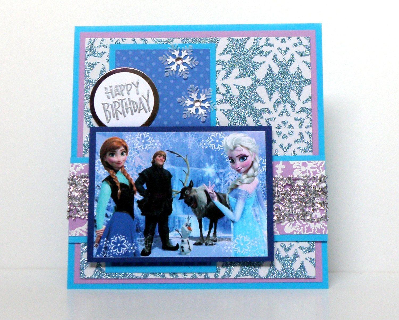Frozen Birthday Cards Handmade Kids Birthday Cards Disney Frozen