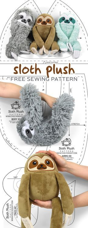 Free sewing tutorial: Make a cute and cuddly sloth plush that even hangs on its own thanks to Velcro in the claws! #cutesloth