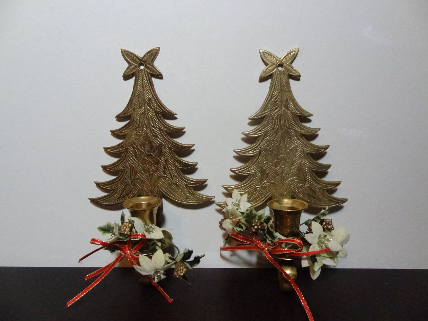 Vintage brass engraved christmas tree candle holder wall sconces