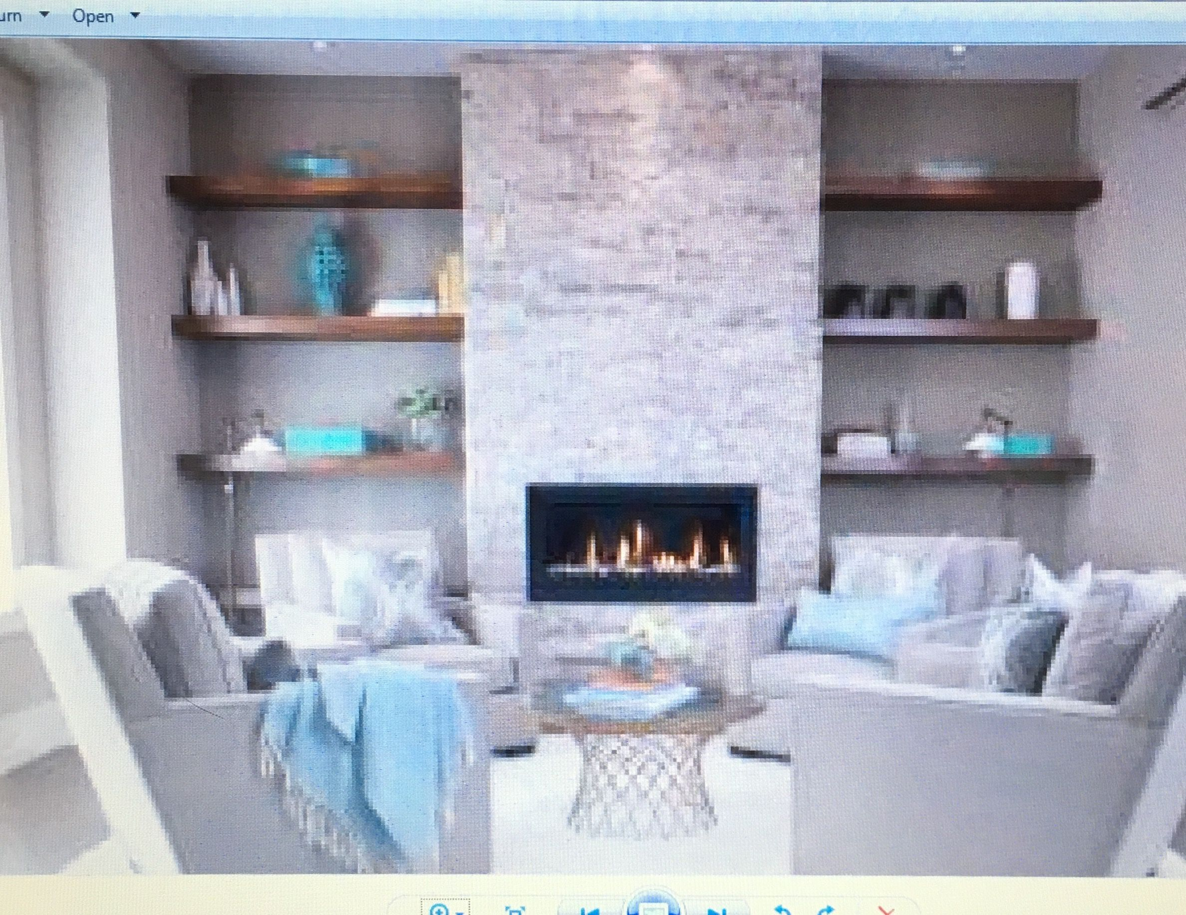 The Floating Shelves Surrounding Bumped Out Tv Fireplace Wall