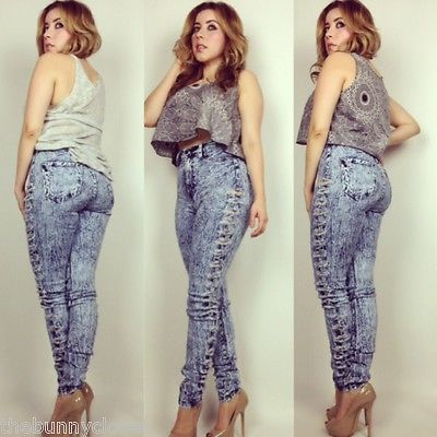Plus High Waist Ripped Sides Blue Acid Wash Jean Pants Sizes 1X,2X,3X  www.myNuevaModa.com