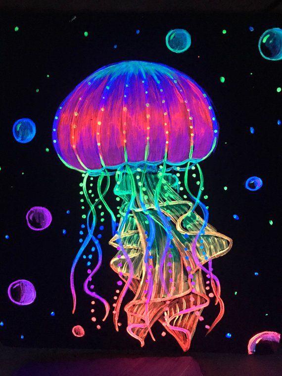 Jellyfish Neon Neon Art Painting Glowing Art Jellyfish Art