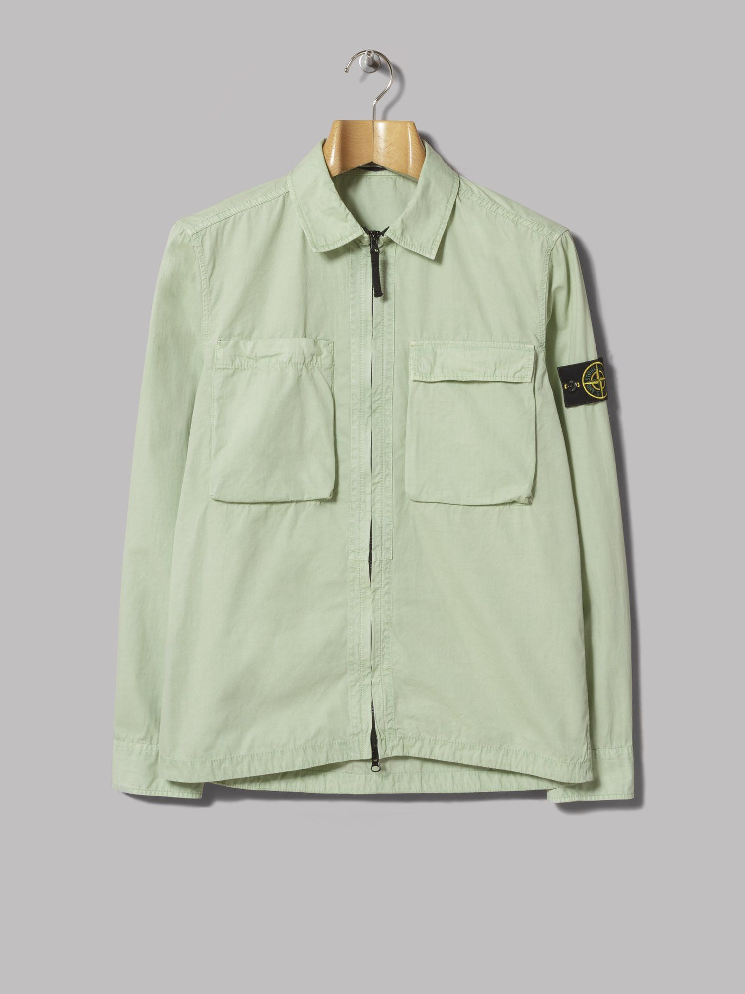 bb22a109 Stone Island Old Effect Brushed Cotton Canvas Overshirt (Verde Chiaro)