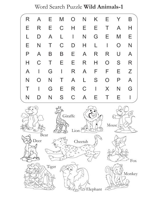 Word Search Puzzle Wild Animals 1 | Download Free Word Search Puzzle ...