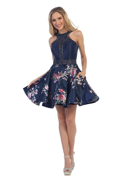 71dbf16a4c75 LF 6019A - Homecoming Beaded Halter with Keyhole Back and Floral Skirt  Floral Prom Dresses,