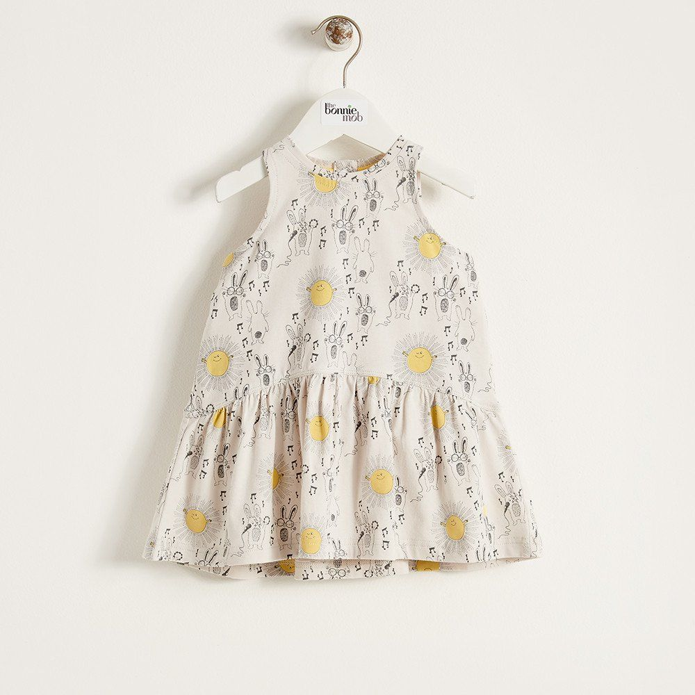 Dolly Organic Cotton Printed Baby Girl Dress Sunny Bunny Pinned