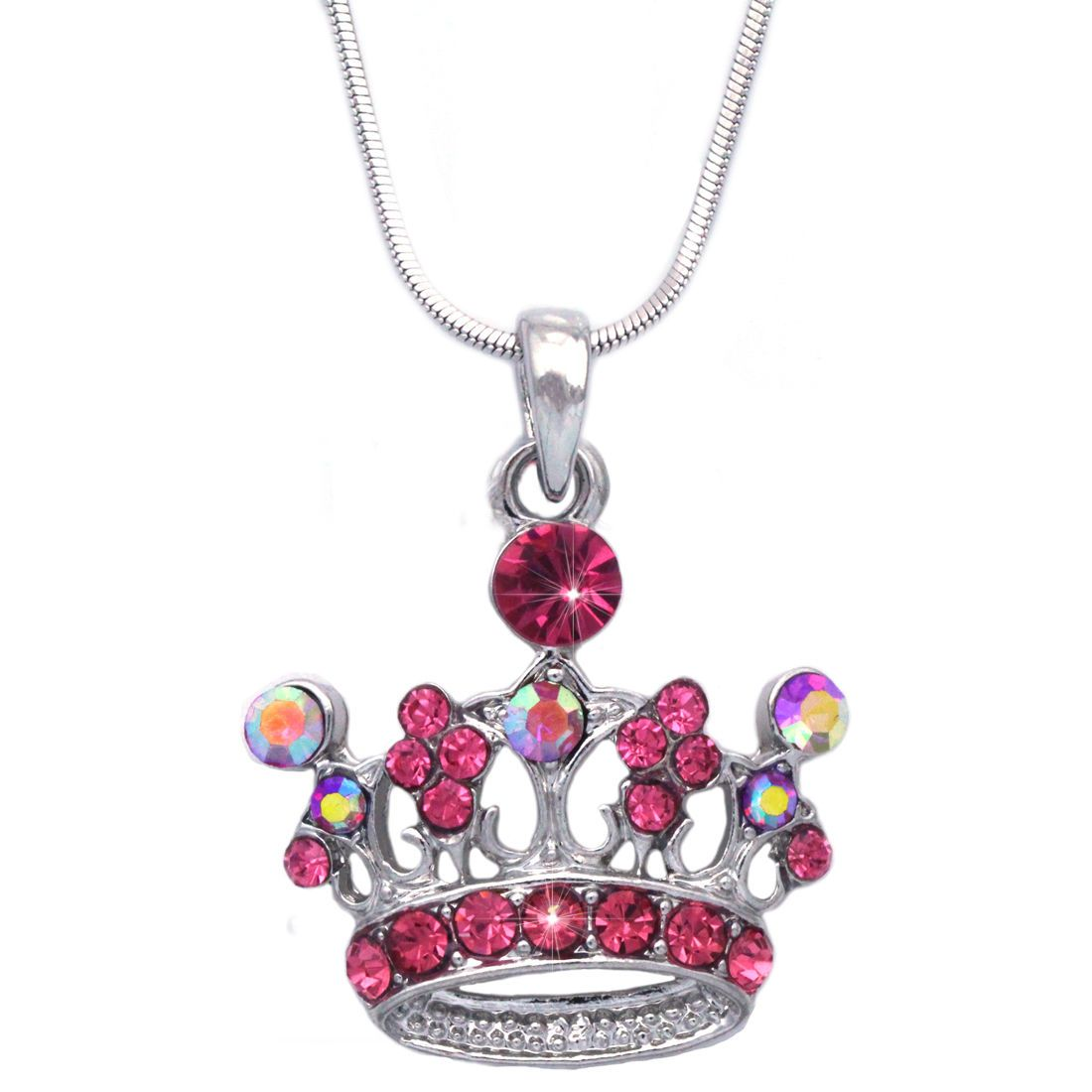 Hot Pink Princess Royal Crown Tiara Pendant Necklace Girl Fashion Jewelry Pendant Necklace Fashion Jewelry Pink Princess