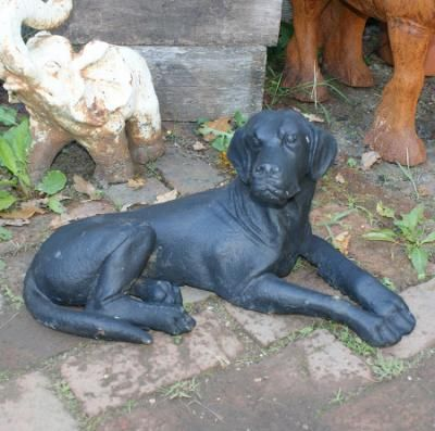 Cast Iron Lying Black Labrador Statue Garden/Kennel Feature