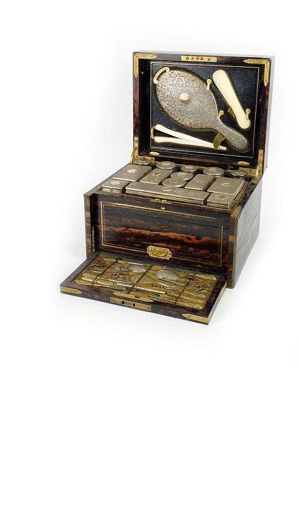 c,1868 Victorian coromandel and brass inlaid dressing box