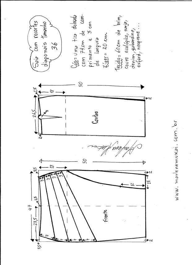 Patrón de Falda modelo clásico con corte diagonal - Patrones gratis ...