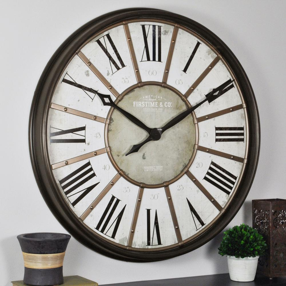 Firstime 29 In Roman Oil Rubbed Bronze Wall Clock 00245 The Home Depot Vintage Wall Clock Bronze Wall Wall Clock