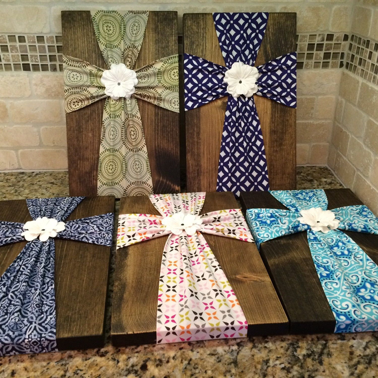 Wall Art - Fabric Cross Wood Plaque With Flower