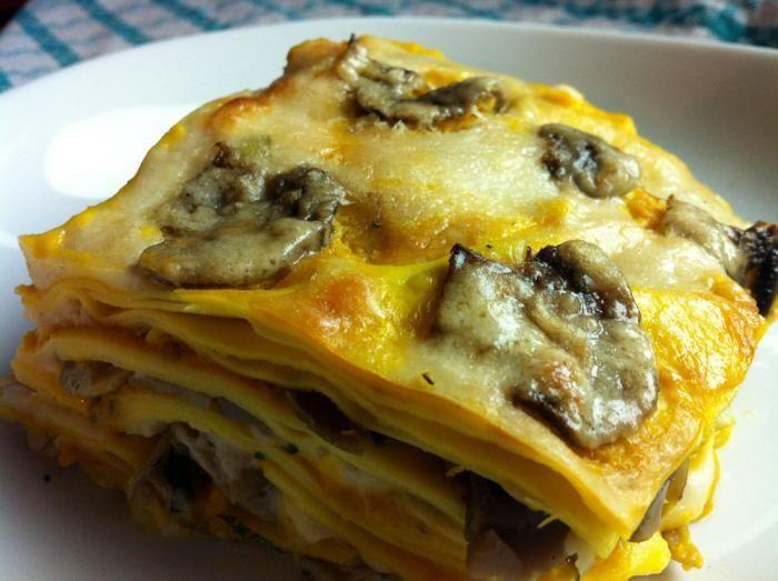 Lasagne al forno con funghi e zucca