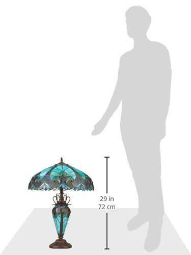 "Chloe Lighting CH18780VG18-DT3 ""LIAISON"" Tiffany-Style Victorian 3 Light Double Lit Table Lamp 18-Inch Shade. 2-Max 100 Watt E27 Type A Bulb + 1-Max 15 Watt E12 Type C Bulb (Type A bulb not included). Pull chain & on-cord rotary switch. 264pcs glass count, 30pcs cabochon. Copper-foiled glass + glass/resin base, electrical components."