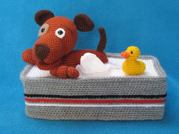 Tissue Box Cover Crochet Pattern Bathing Puppy Dog And Rubber Duck ...
