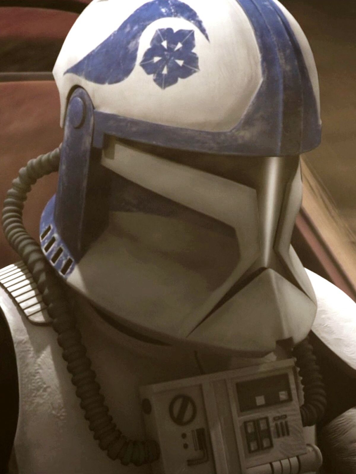 """Kickback is a clone trooper pilot who served in the Galactic Republic's Navy. Kickback served under the call sign of """"Blue Four"""" in Blue Squadron, a Republic starfighter unit led by Jedi Commander Ahsoka Tano. Blue Squadron participated in the Battle of Ryloth circa 22 BBY, to destroy Confederate Captain Mar Tuuk's blockade over the Twi'lek planet of Ryloth."""