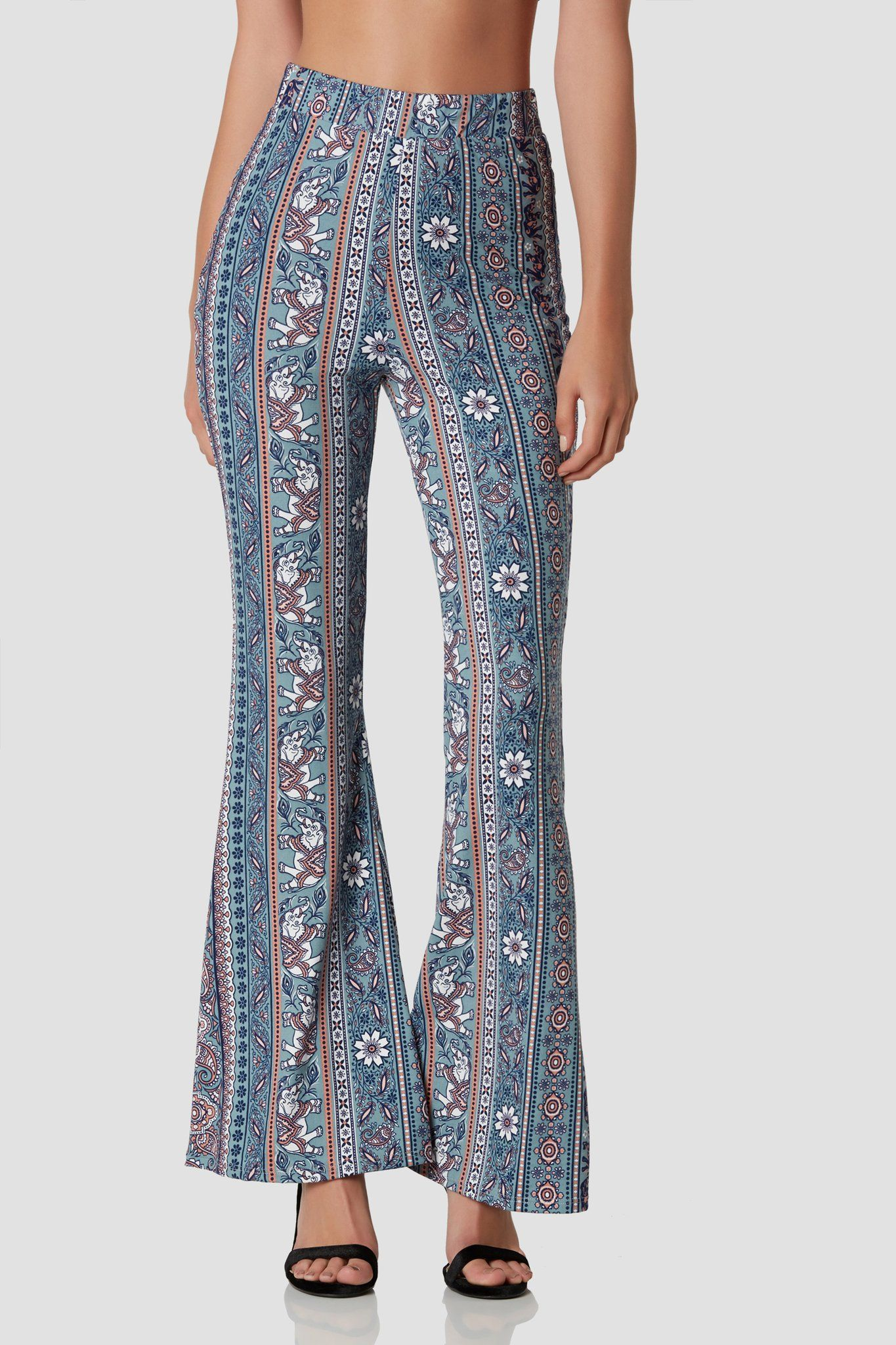 0b3e8996d8f41 Super soft high rise bell bottoms with intricate print throughout. Comfortable  stretch with elasticized waistband.