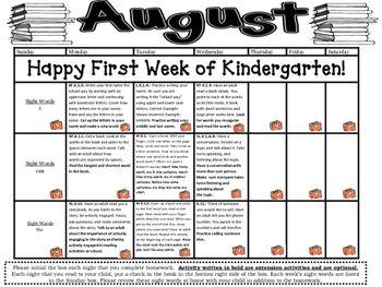 Kindergarten Common Core Literacy and Math Homework