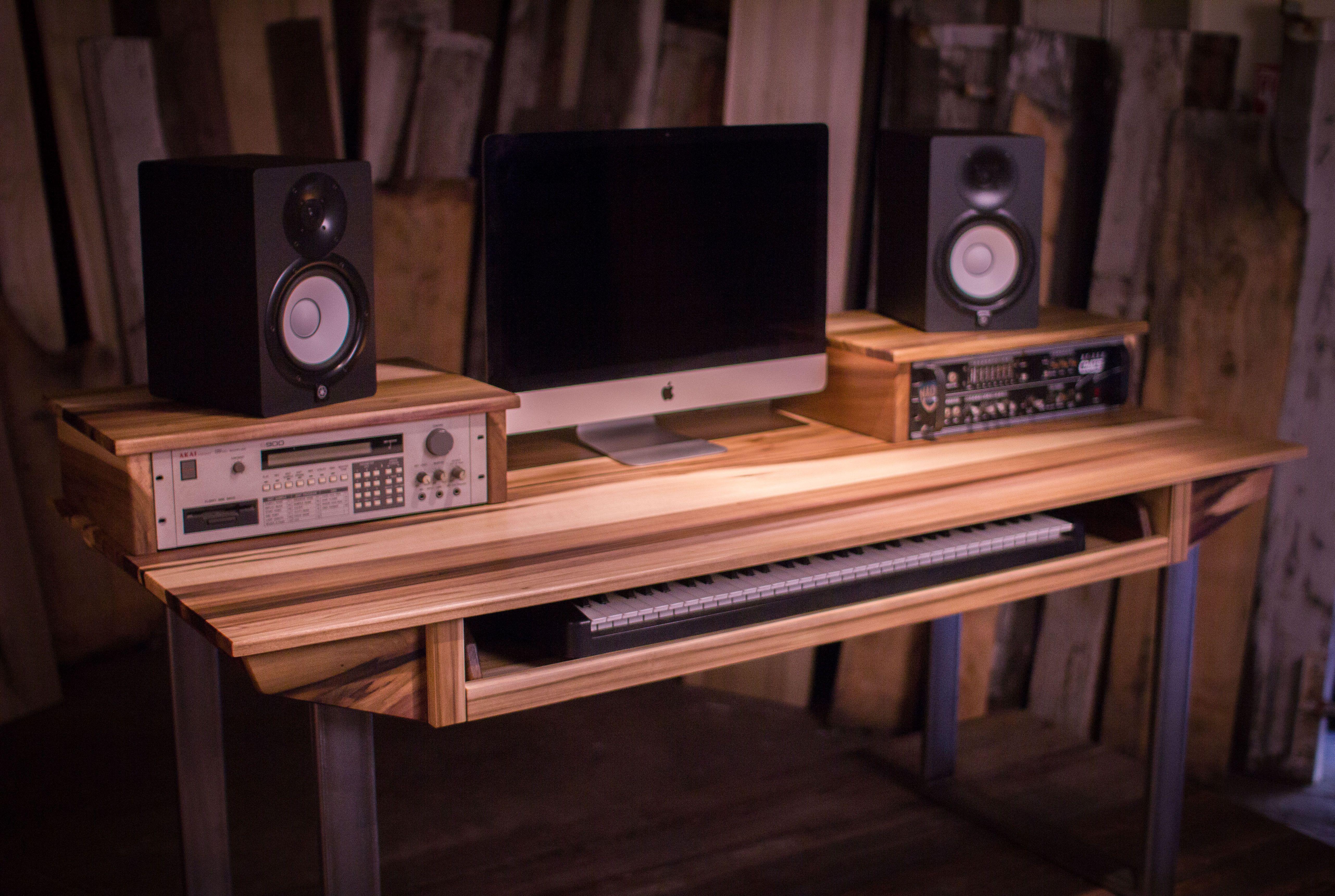 Custom Made Studio Desk For Audio Video Production W Keyboard Workstation Shelf And Rack Units Studio Desk Recording Studio Design Recording Studio Desk
